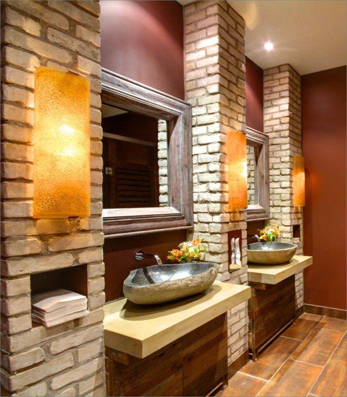 Badgestaltung Ideen mit Ziegelwänden für eine traumhafte Atmosphäre - badezimmer design badgestaltung