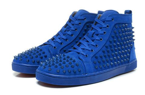 Blue Christian Louboutin High Top Spike Sneakers For Men Red Sole