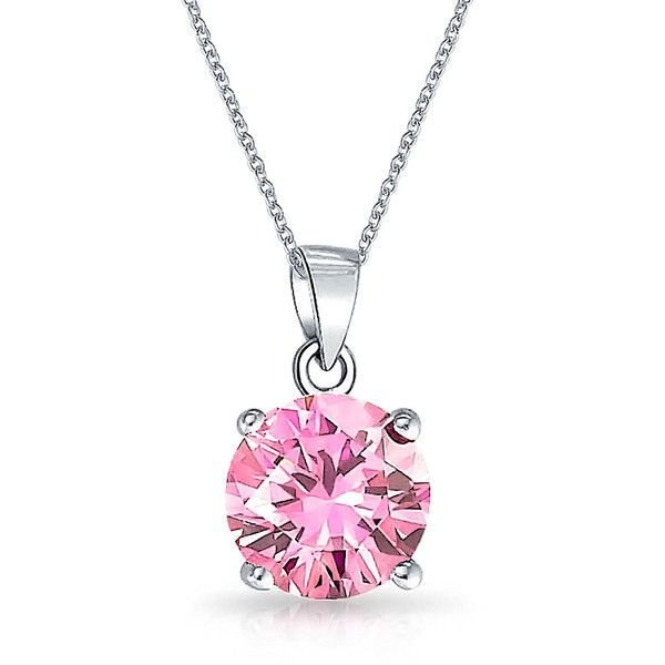 Bling Jewelry My October Bauble (73 BRL) ❤ liked on Polyvore featuring jewelry, necklaces, pink, silver, necklaces pendants, pendant-necklaces, pink pendant necklace, pink jewelry, pink necklace and bauble necklace