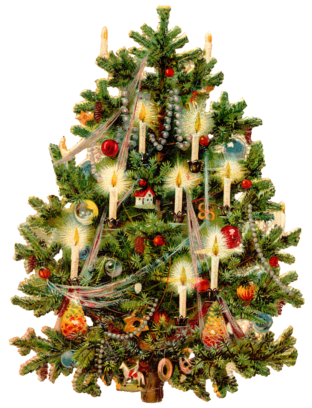 Wings Of Whimsy Victorian Christmas Tree PNG Transparent Background Vintage