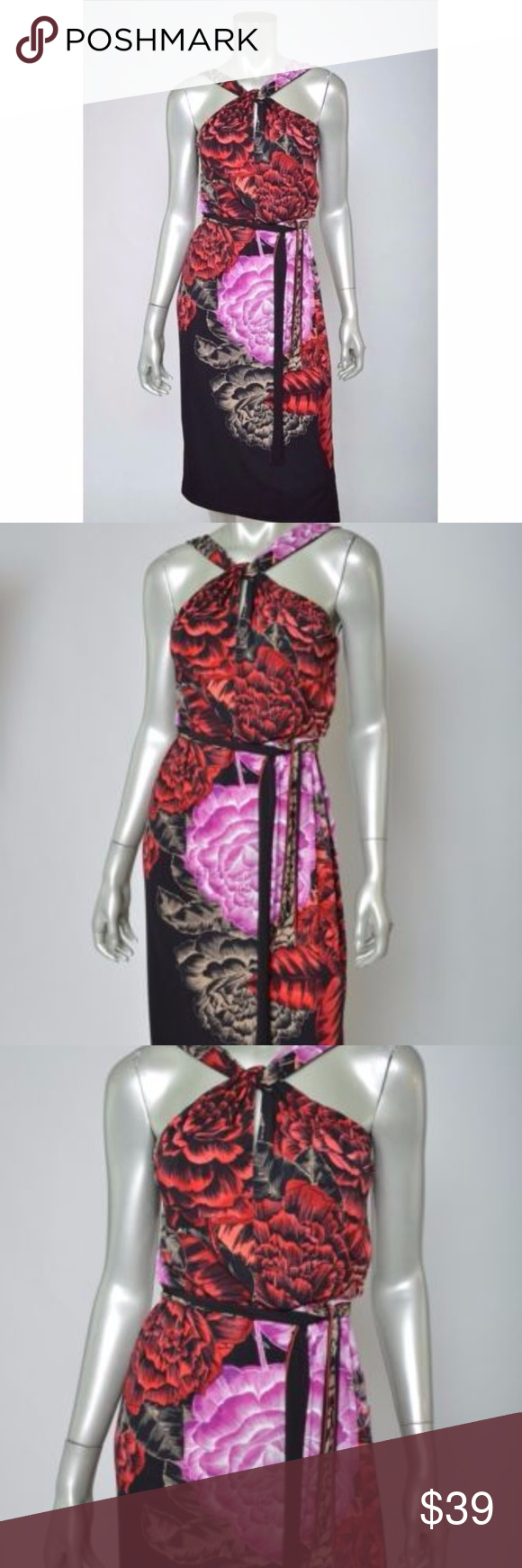 Tahari black red floral tie waist halter dress total length is