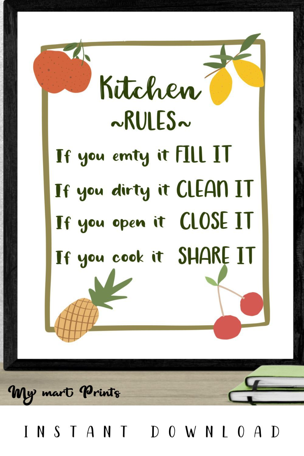 Kitchen Rules Sign Printable Wall Decor With Fruits, Kitchen Print, Earth Colors Fruits Wall Art  #kitchenrules Available immediately after purchase. You may print this file anywhere you choose - your printer at home, a photo developer, or a professional printing resource. Save money and print it yourself as many times as you want. #kitchenrules