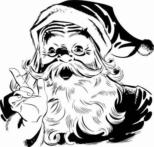clip art animals black and white free santa claus clipart - White Santa Claus