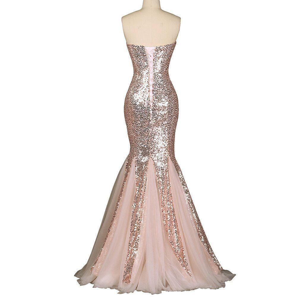 Jasy multi style rose gold sequined mermaid prom dresses long
