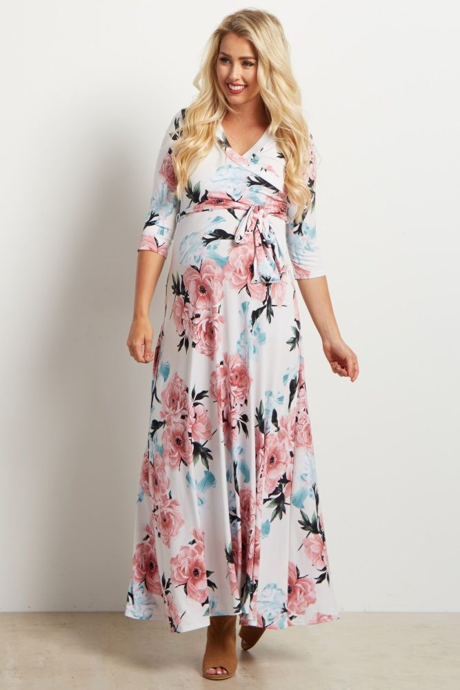 c59da7e0954 White Floral Sash Tie Maternity Nursing Maxi Dress