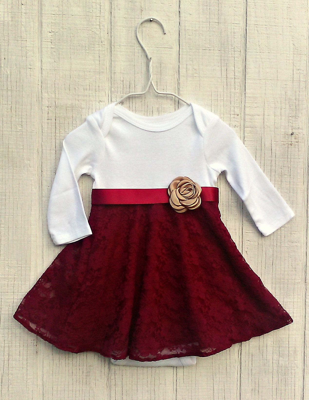 Baby Girl Christmas Dress, Winter Baby Clothes, Maroon Baby Dress ...