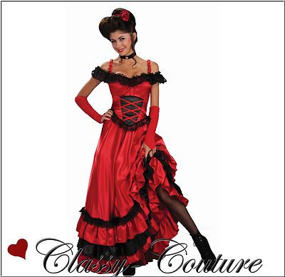 Red Showgirl Ladies Burlesque Fancy Dress Womens Western Saloon Can Can Costume
