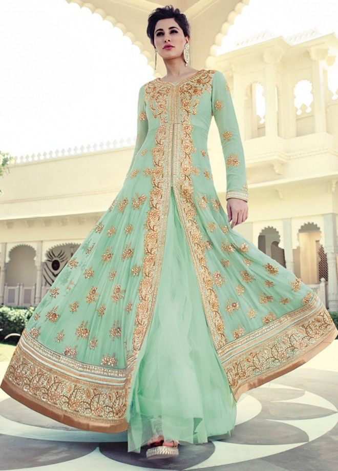 7628891782 #NargisFakhri 7318 aqua(sea green) color #anarkali suit is on pure georgette  fabric with net flare with golden zari, sequins and stone work.