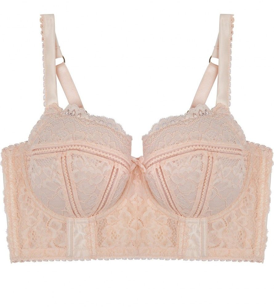 Pleasure State Laetitia Therese Long Line Bra in Pale Dogwood. Make a statement in Laetitia Therese. Crafted from spectacular corded stretch lace galloon, sumptuous satin and corsetry seaming details. Level after level of luxury is added to this sublime longline silhouette that will have you ready for any occasion.