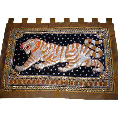Exclusive Thai Decor Tiger On Green Thai Silk Kalaga