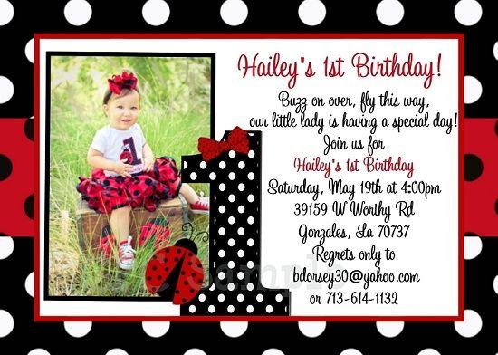 Get Ladybug 1st Birthday Invitations Ideas FREE Printable
