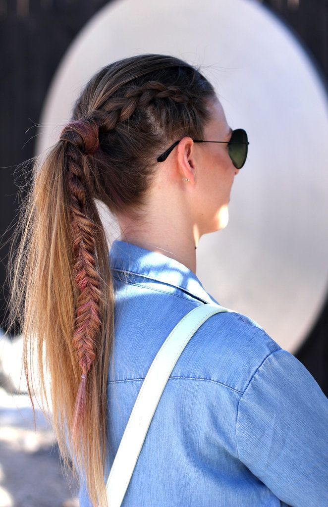 A braid that turns into a fishtail AND a wrapped ponytail...talk about hair goals