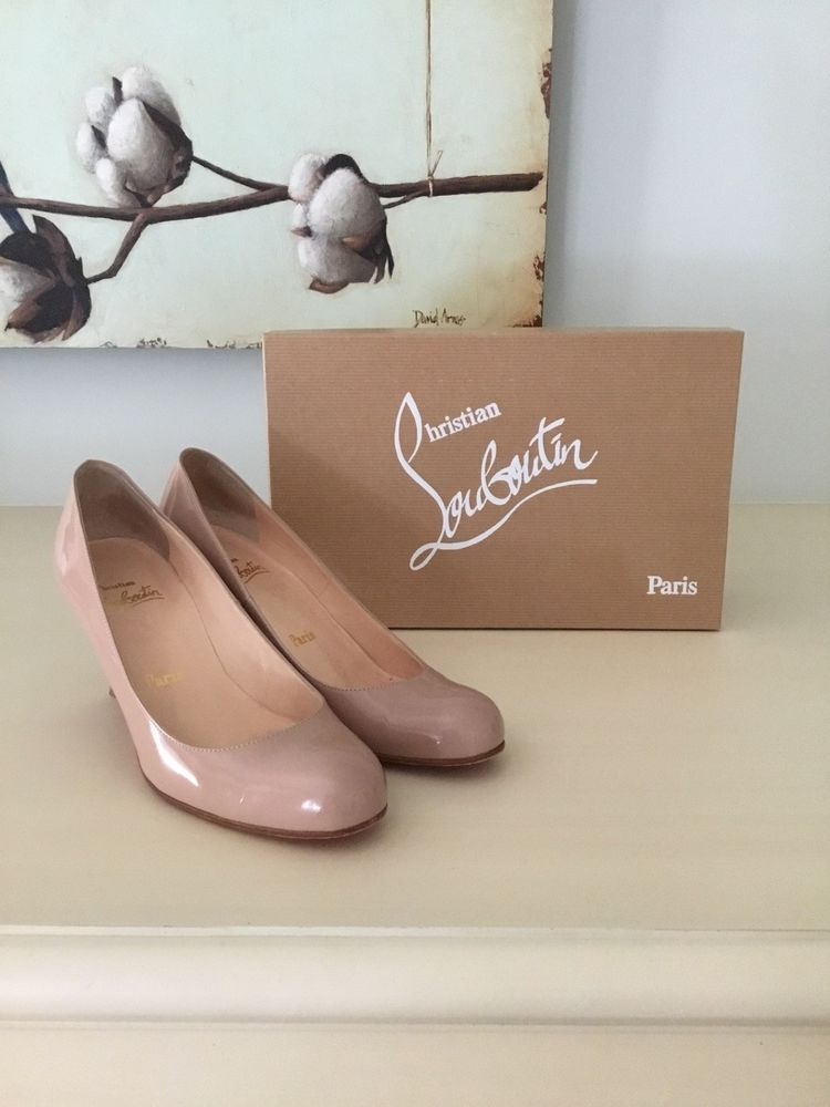 the best attitude f796a 451e2 EUC Christian Louboutin Simple Pump 70 Nude 37.5 Patent Calf ...