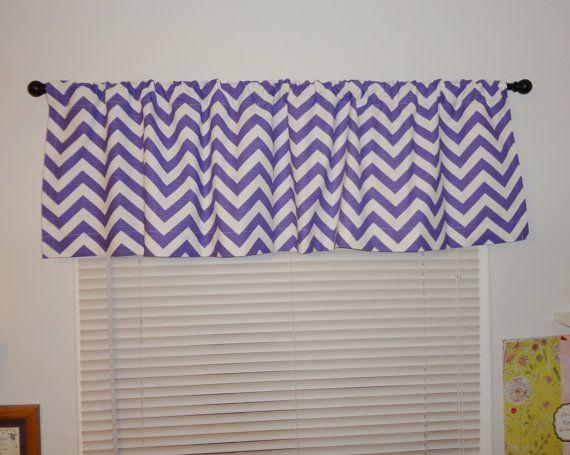 Curtain Valance Topper Window Treatment 53x15 Purple/White Zig Zag ...