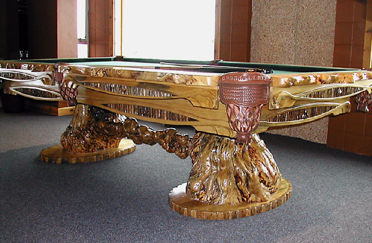 Burl Accented Billiard Table With Hand Carved Body And
