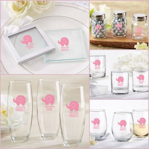 Pink And Grey Elephant Baby Shower Personalized Glassware From HotRef.com