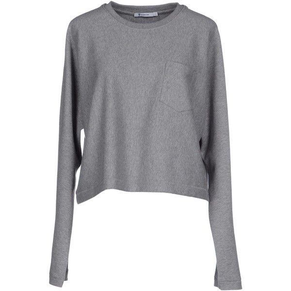 T By Alexander Wang T-shirt ($120) ❤ liked on Polyvore featuring tops, t-shirts, grey, long sleeve cotton tees, long sleeve tee, cotton tee, cotton t shirt and grey t shirt