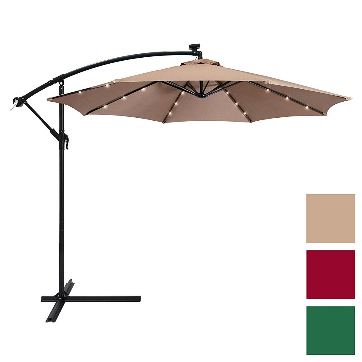 Best Choice Products 10ft Solar Led Patio Offset Umbrella W Easy Tilt Adjustment Tan Offset Umbrella Offset Patio Umbrella Patio