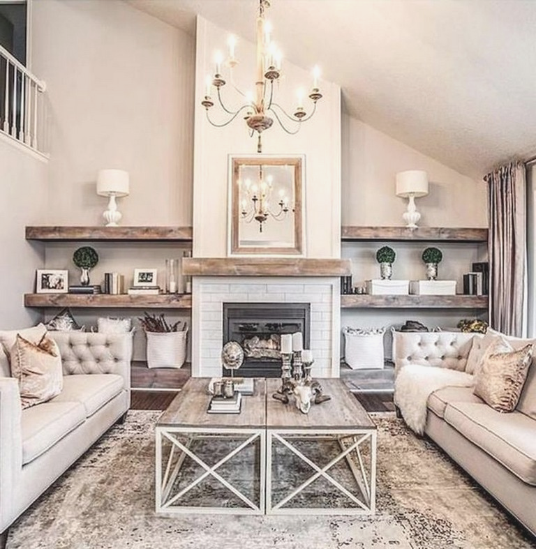 48  Best Rustic Farmhouse Fireplace Ideas For Your Living Room #farmhousefireplace #livingroomdesigns #livingroomdesignideas