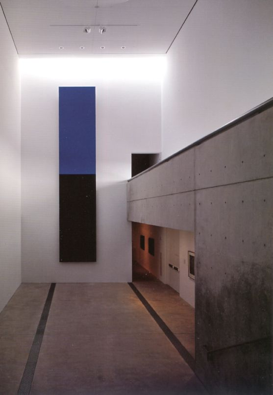 Interior view of Tadao Ando's Pulitzer Foundation for the Arts. Ellisworth Kelly's Blue Black coming together perfectly with Ando's space. Beautiful.