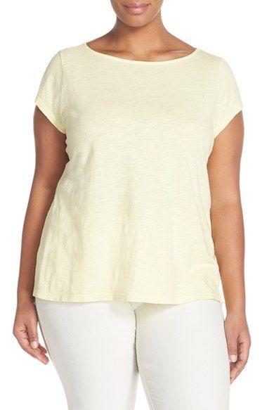 Eileen Fisher Short Sleeve Jersey Bateau Neck Top (Plus Size)