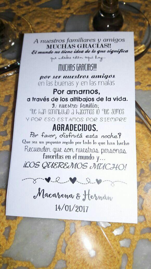 Tarjeta De Agradecimiento Para Invitados Boda Macarena Y