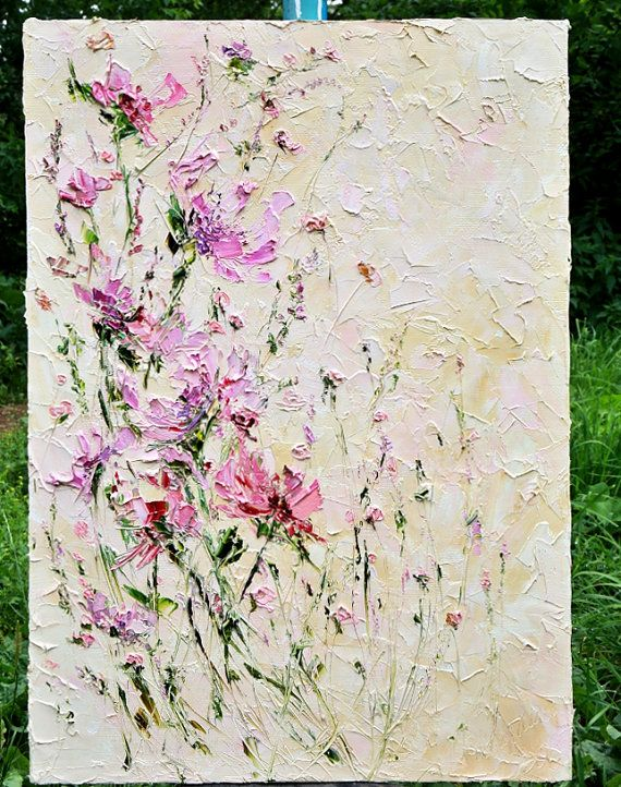 Blume, Spachtel Ölgemälde Auf Leinwand Pfingstrose Malerei Abstrakt Blumen Wohnzimmer  Wand Kunst Licht Rosa Blumen