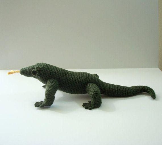 crocheted dragons | Komodo Dragon Hand Crocheted Amigurumi Stuffed ...
