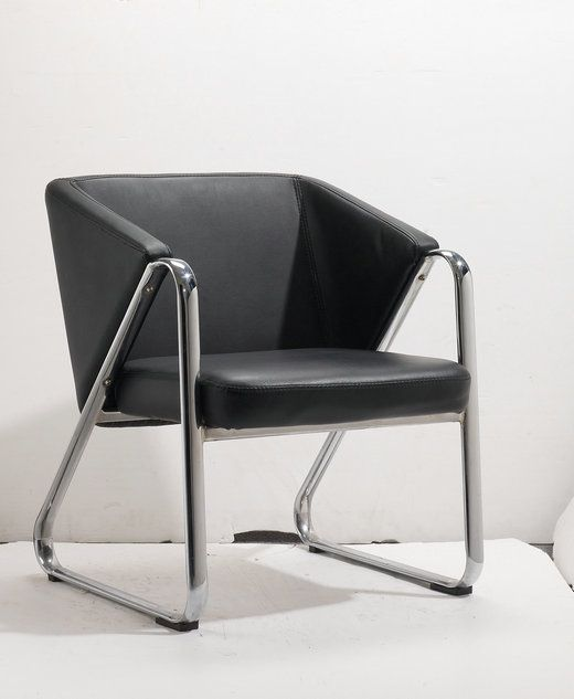 Black Leather Office Chairs Sofa Reception Lounge