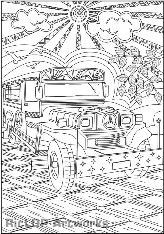 Enjoy the ride philippine jeepney coloring page adult coloring printable philippine jeepney coloring page for adult colouring jeepney poster publicscrutiny Image collections