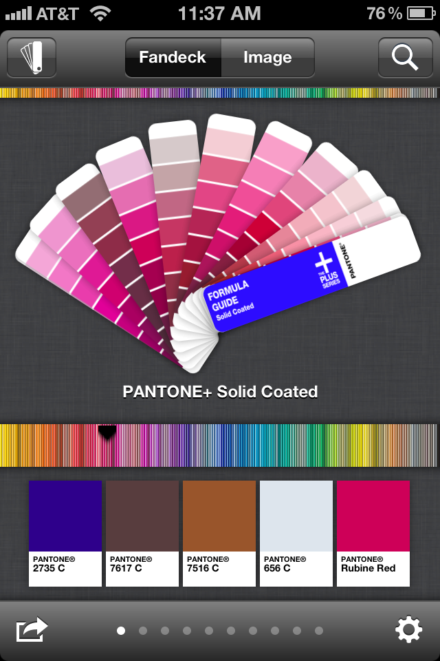 Pantone app- brose fan deck with your thumb / paint formula giude for mobile