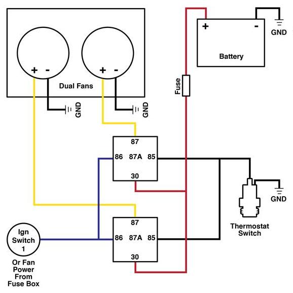 Dual Cooling Fan Wiring Diagram Electric Cooling Fan Radiator Fan Automotive Electrical