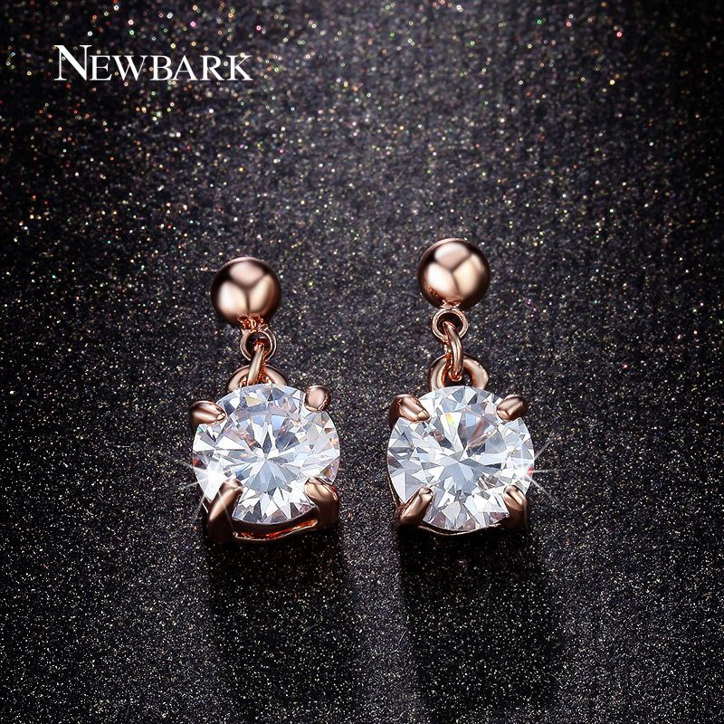 Cute Drop Earrings For Women 4 Prong Round Cut AAA Cubic Zirconia Rose Gold  Color Sparkling Earring Gift aa9d604b431e