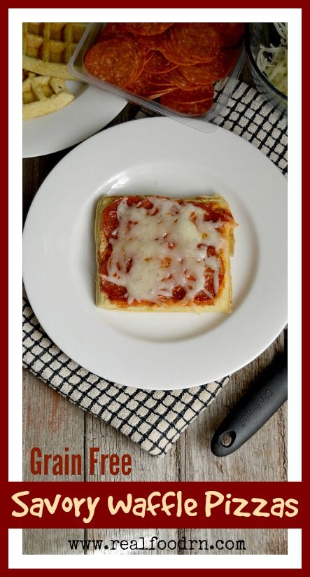 Grain Free Savory Waffle Pizzas. A quick, healthy, and delicious meal idea that works great for busy weeknights and for lunch boxes! They also freeze well so you can have them on hand when in a pinch! My kids love helping put on the toppings. A high protein meal thats perfect for kids! realfoodrn.com #pizzadunkers #savorywaffle