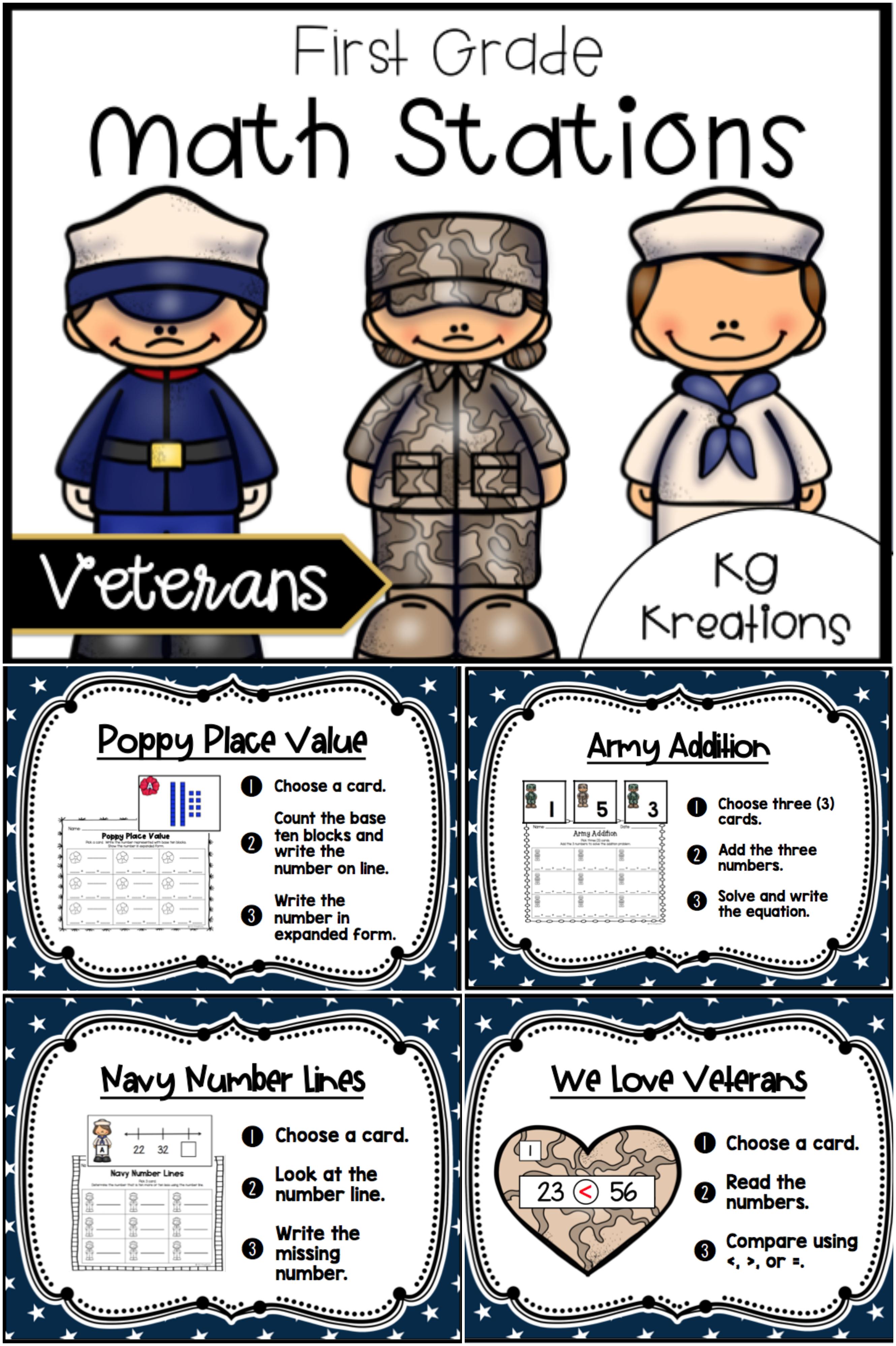1st Grade Math Centers Veterans Day