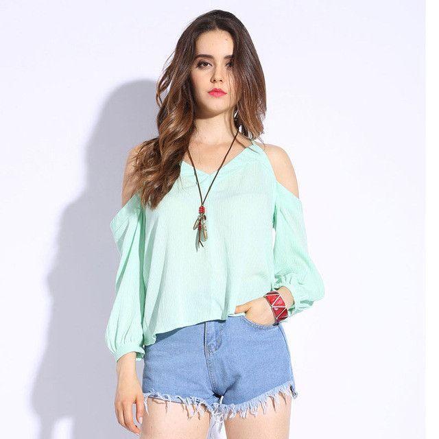461aec73be3 Women Off shoulder Tops 2017 Girls Cold Shoulder Blouses Nine Quarter V-Neck  Shirts Sexy Ladies Halter Tops Women Solid Blouse