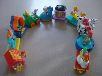 McDonald's Happy Meal toys connected together to make a train