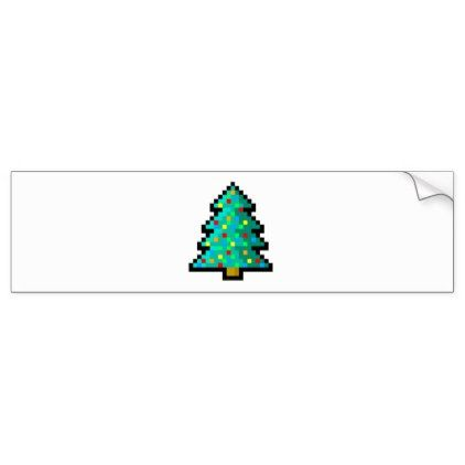 Pixel Art Christmas Tree Green With Decorations Bumper Sticker