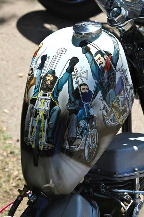 small Sportster gas tank with David Mann painting