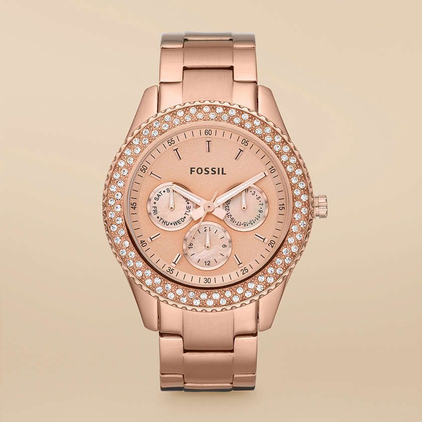 stella multifunction rose tone stainless steel watch fossils rose gold watches and gold watches. Black Bedroom Furniture Sets. Home Design Ideas