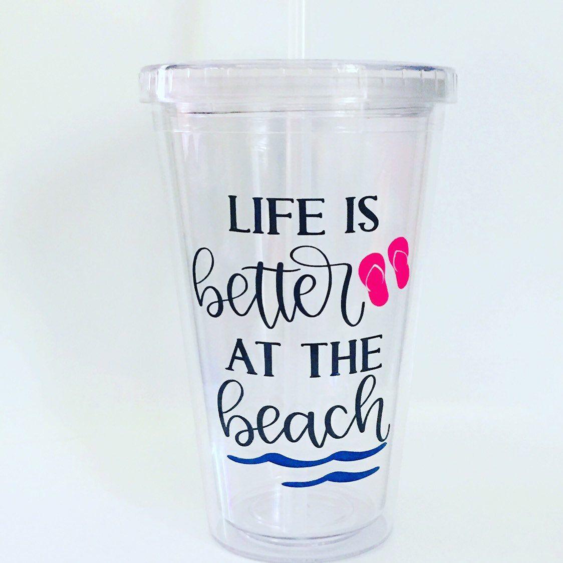 Beach Life Insulated Wine Glass