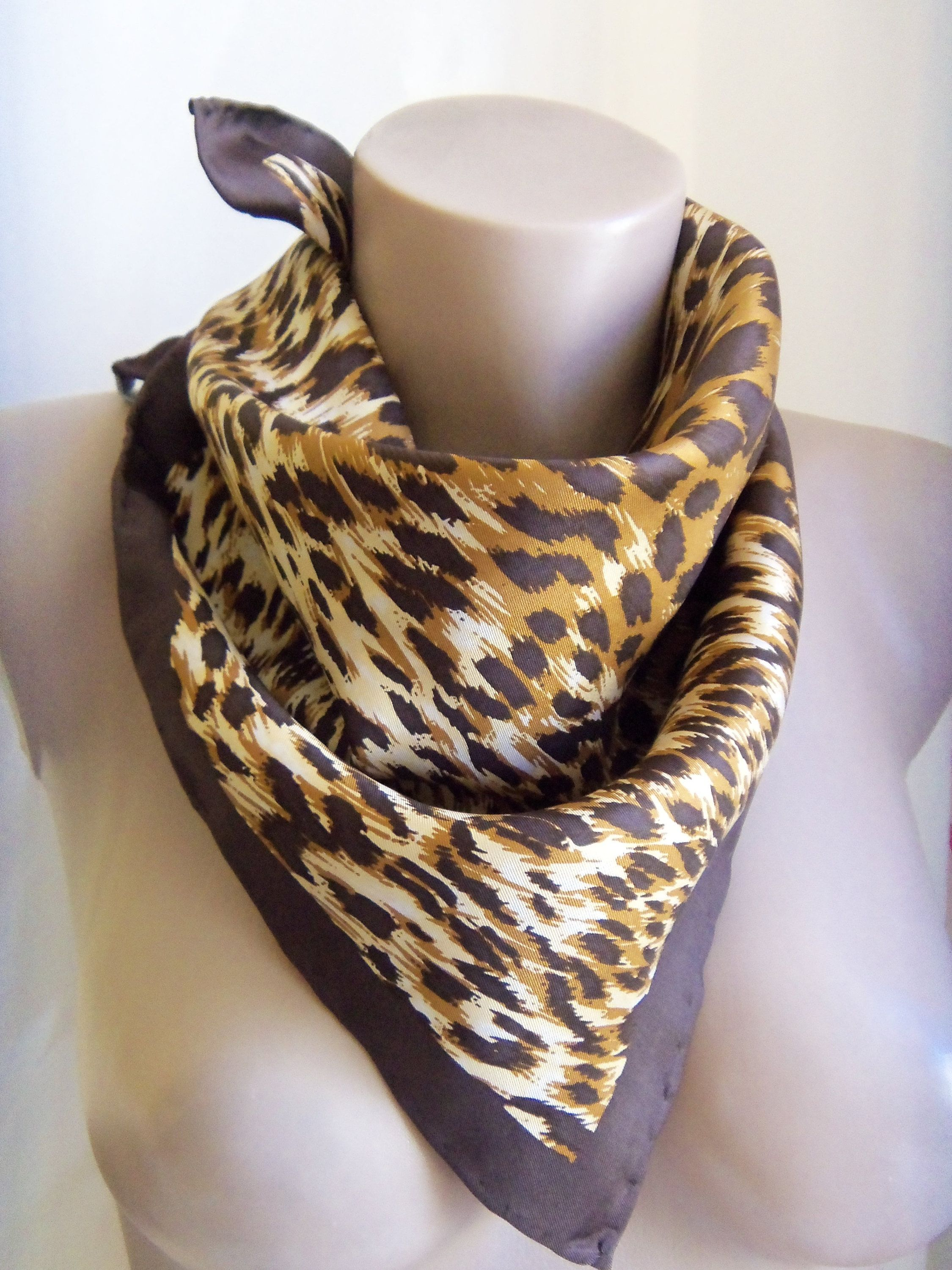 1960ae47a7508d Vintage CODELLO silk scaf, Animal Leopard print, Hand rolled edges, Square