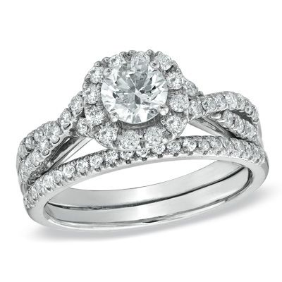 Diamond Frame Twist Bridal Set In 14K White Gold   View All Rings   Zales
