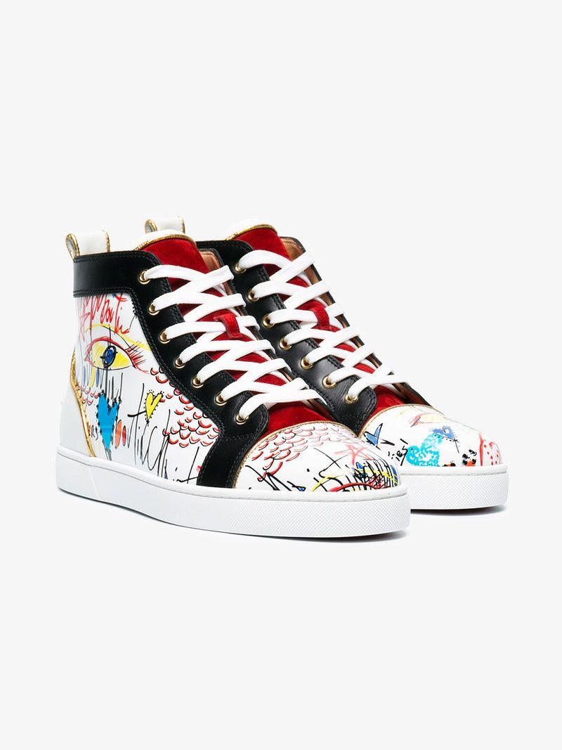 CHRISTIAN LOUBOUTIN LOUIS FLAT LOUBITAG PRINT SNEAKERS. #christianlouboutin #shoes #