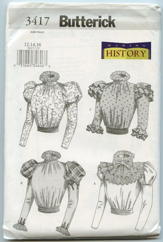 Butterick 3417 Sewing Pattern Historical Costume Victorian
