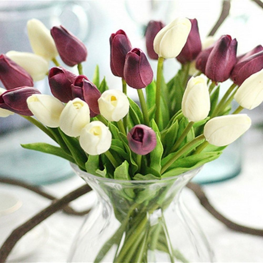 Tulips Artificial Flowers In 2020 Artificial Flowers Fake Flowers Artificial Flower Bouquet