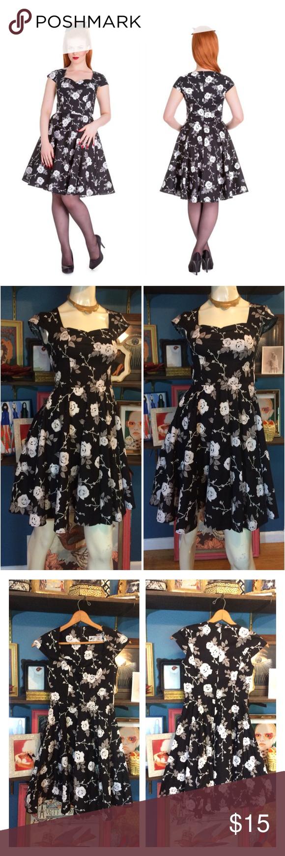 HELL BUNNY NATALIA FLORAL DRESS rose BLACK