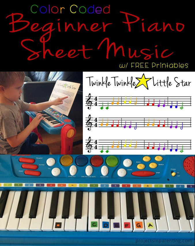 Color Coded Beginner Piano Sheet Music, great for Toddlers and ...