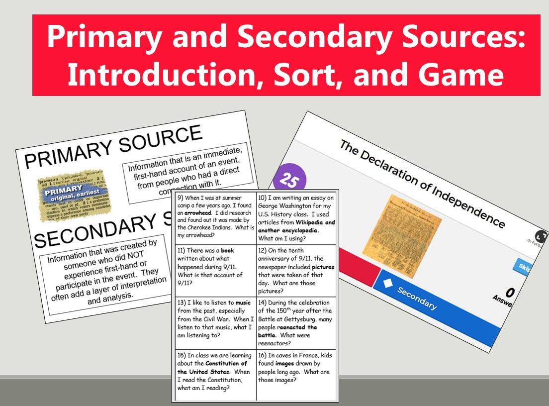 Primary and Secondary Sources Introduction, Sort, and