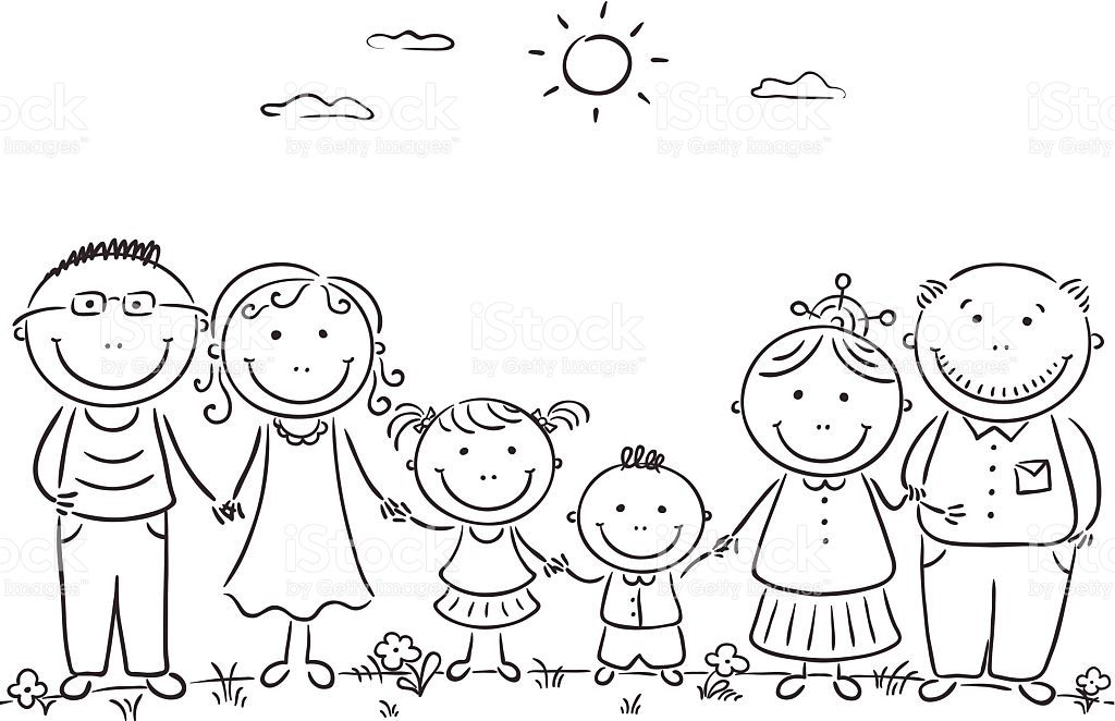 Cartoon Famile With Two Children And Grandparents Family Drawing Family Coloring Pages Stick Drawings